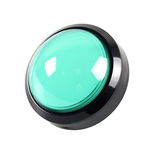 (EG STARTS 4 Inches Arcade Buttons 100mm Larger Big Dome Convex Type LED Lit Illuminated Push Button for For Arcade Machine DIY Kit & Raspberry Pi Game Part ( Green ))