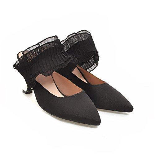 sandali pantofole signore sexy i moda 40 baotou black Sandalette DEDE sharp nqfpwxCg