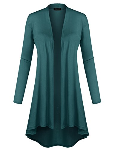 BH B.I.L.Y USA Women's Open Front Lightweight Jersey Classic Long Sleeve Cardigan Teal X-Large
