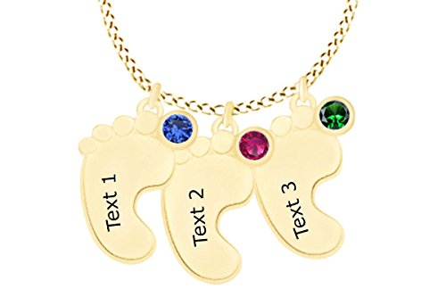 AFFY Personalize Engravable Simulated Gemstone Feet Pendant Necklace in 14k Yellow Gold Over Sterling Silver ()