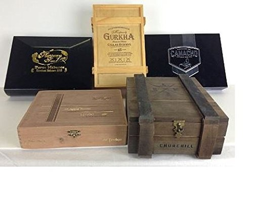 (5 Premium Wooden Empty Cigar Boxes with Design Booklet)