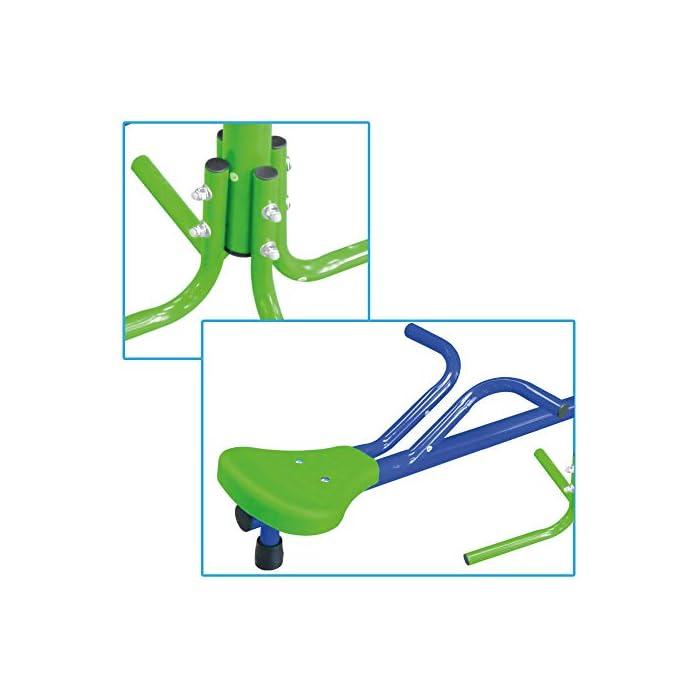 41C7hzMzcIL Balancín Aktive Sports recomendado para niños mayores de 3 años, adecuado para instlar al aire libre, usar bajo la supervisión de un adulto Medidas, balancín: 151 cm de ancho x 54 cm de profundidad x 33 cm de alto; asientos: 21x21x4 cm, soporta un peso máximo de 60 kg Estable y duradero, estructura de aluminio resistente con 4 patas de 55x55x35 cm para mayor estabilidad y asientos de PVC robustos con protección UV