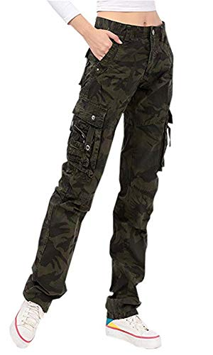 Women's Utility Military Style Cargo Pants with Bottom Drawstring, Army green camo, Tag 38 = US (12-14)