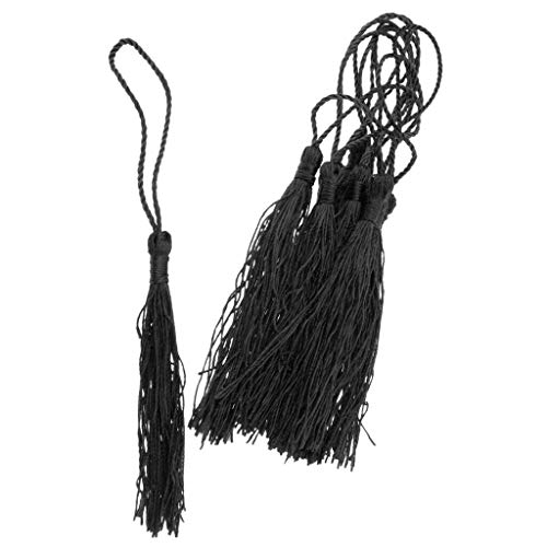 10Pack Handmade Silky Tassels for DIY Craft Cardmaking Handfan Pendant Craft | Color - Black