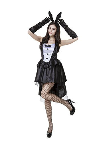 Honeystore Women's Tux and Tails Bunny Dress Costume with Ear (Bugs Bunny Mascot Costume)