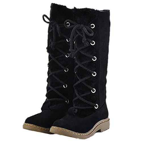 Womens Lace Up Tassel Knee High Flats Black Boots - 2