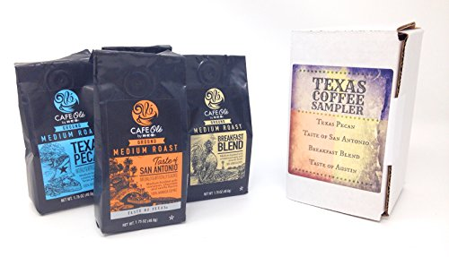 Gift Cafe (HEB Grocery Gourmet Ground Coffee Sampler – Texas Pecan Coffee, Taste of San Antonio Coffee, Breakfast Blend Coffee, and Taste of Austin Coffee, Medium Roast Variety Pack, Gift Boxed)