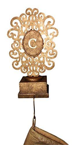Monogrammed Gold Ornament Holder | Scroll Stocking Mantel Hook by Intelligent Design