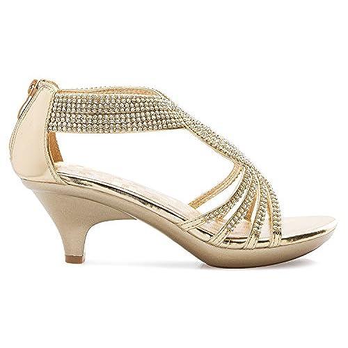 6adafa1e9 cheap OLIVIA K Women's Open Toe Strappy Rhinestone Dress Sandal Low Heel  Wedding Shoes