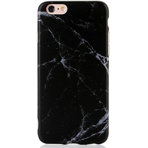 e,iPhone 6s Case,Cute Black Marble Men Women Girls Slim Fit Thin Clear Bumper Glossy TPU Soft Rubber Silicon Cover Best Protective Phone Case iPhone 6/iPhone 6s ()