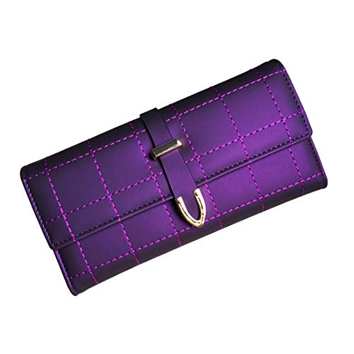 (Rfid Women's Wallets Ladies Clutch Trifold Leather Wallet Multi Card Large Capacity (Purple3))
