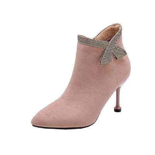 ZHRUI ZHRUI EU Nero Beige 38 Shoes Colore con Zipper Ankle Alto Wonen Sexy Tacco Dimensione Stivali rv6w7qr