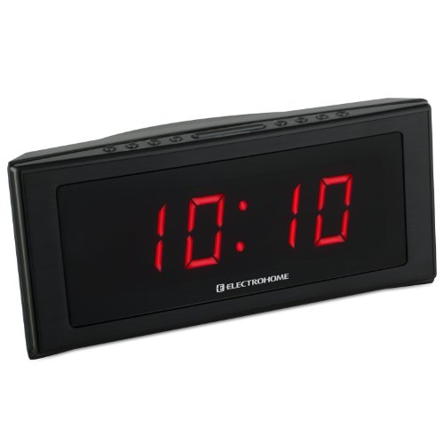 electrohome 1 8 inch jumbo led alarm clock radio with battery backup auto time set digital am. Black Bedroom Furniture Sets. Home Design Ideas