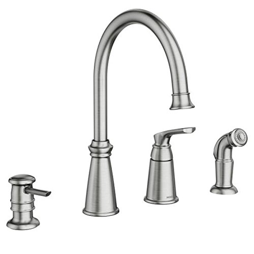 (Moen 87044SRS Whitmore One-Handle High Arc Kitchen Faucet, Spot Resist Stainless)