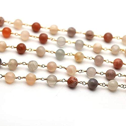 Moonstone Smooth Rondel Rosary Chain, Gold Plated Beads Chain, Moonstone Gold Chain, Jewelry Making Supplies, GemMartUSA (GPMM-30100)