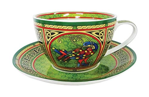 Celtic Peacock Cup & Saucer - Irish Weave ()