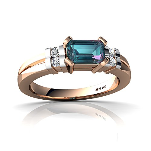 14kt Rose Gold Lab Alexandrite and Diamond 6x4mm Emerald_Cut Art Deco Ring - Size 6 14kt Gold 6x4 Emerald