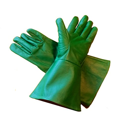 Leather Gauntlet Gloves GREEN -