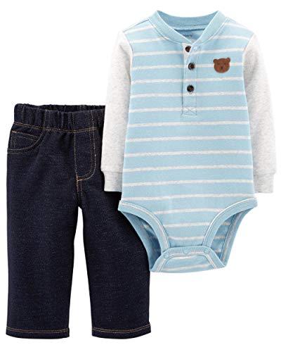 Carter's Baby Boys Bodysuit Pants Set Henley-Style Bear (24M)