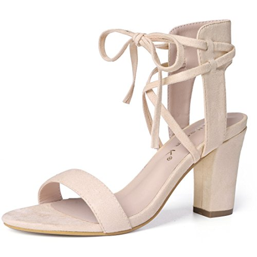 Allegra K Women's Ankle Tie Heeled Beige Sandal - 9 M (Ankle Tie Shoes)