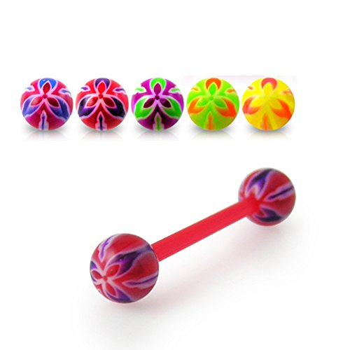 14Gx3/4 (1.6x19MM) Flexible Straight Barbell with 6MM UV Fancy Flower Ball Tongue Piercing Rings - 10 Pieces Assorted Color as Show