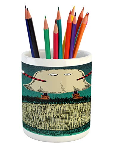 Ambesonne Ghost Pencil Pen Holder, Sketchy Doodle Design with a Funny Kid in a Ghost Costume for The Halloween Holiday, Printed Ceramic Pencil Pen Holder for Desk Office Accessory, Multicolor -