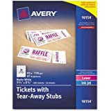 Printable Tickets W/Tear Away Stubs, 1 3/4 X 5  Printable Ticket Paper