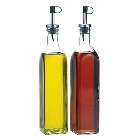Glass Oil & Vinegar Dispenser Cruet bottles, Set of 2 Glassware & Drinkware at amazon