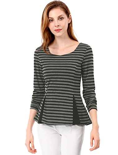 Back Black K Bandes Horizontales Allegra Gray Cross Top Color Peplum Block Femmes Criss Pq8wwHx1d