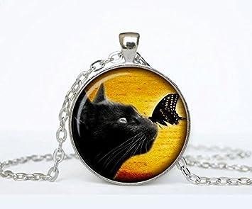 Gato negro collar, con gato, gato collar, joyas, collar de gato, de gato, gatos, negro y blanco declaración collar, con gato: Amazon.es: Hogar