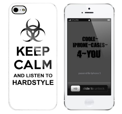 Iphone 5 Case Keep Calm and listen to hardstyle Rahmen weiss