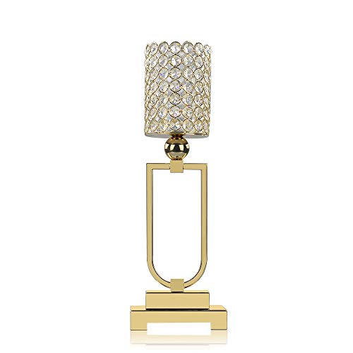 - VINCIGANT Decorative Gold Candle Holder - Home Decor Pillar Candle Stand,Coffee Table Mantle Decor centerpieces for Fireplace, Living or Dining Room,17.7 Inches Tall
