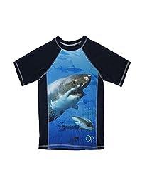 OP Boys Royal Blue Shark Image Print Short Sleeve Rashguard 4-16