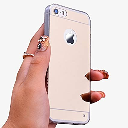 iphone 5s gold case for girls. johncase iphone 5s mirror girl case, soft tpu bumper electroplating back cover luxury cute gold case for girls