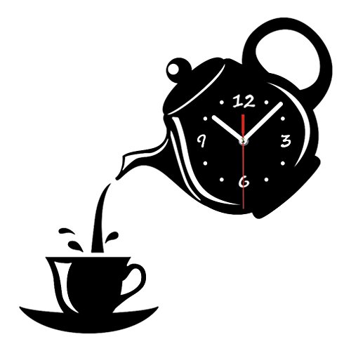 liveleafa Wall Clock Mirror Effect Coffee Cup Shape Decorative Kitchen Wall Clocks Living Room Home Decor Wandklok Black