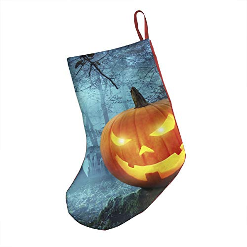 DIDIDI Halloween Kürbis in Schauriger Umgebung Bei Mondschein Christmas Stockings Xmas Socks Ornamentthemed 18 Inch XL Large Bulk Big Jumbo Giant 20 Opaque Embellishments Childs Girl Boy