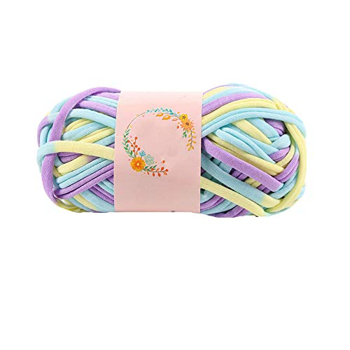 (Hand Dyed Art-Yarn,Recycled T-Shirt Yarn,Crochet Rug Yarn,Fabric Knitting Yarn,DIY Chunky Yarn,Spaghetti Yarn,Home Decor,Bulky Summer Bag Yarn 200g)