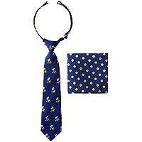 Canacana Elephant Cycle Pre-tied Boy's Tie with Polka Dots Pocket Square Set