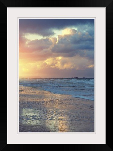 greatBIGcanvas Coastline of the Atlantic Ocean at sunset Photographic Print with Black Frame, 16