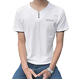 Men's V Neck Short Sleeve Pure Color Letter T Shirt Tops