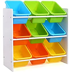 Homfa Toddler's Toy Storage Organizer 9 Multiple Color Plastic Bins Shelf Drawer Kid's Bedroom Playroom, White Rack