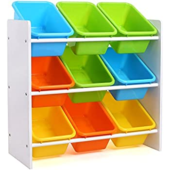 Homfa Toddleru0027s Toy Storage Organizer with 9 Multiple Color Plastic Bins Shelf Drawer for Kidu0027s Bedroom Playroom White Rack  sc 1 st  Amazon.com & Amazon.com: SONGMICS Childrenu0027s Toy Storage Unit 6 Fabric Storage ...