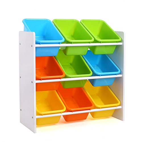 Homfa Kid's Toy Storage Organizer with 9 Plastic Bins for Kids Bedroom Playroom,White/Primary (Storage Toy Plastic)
