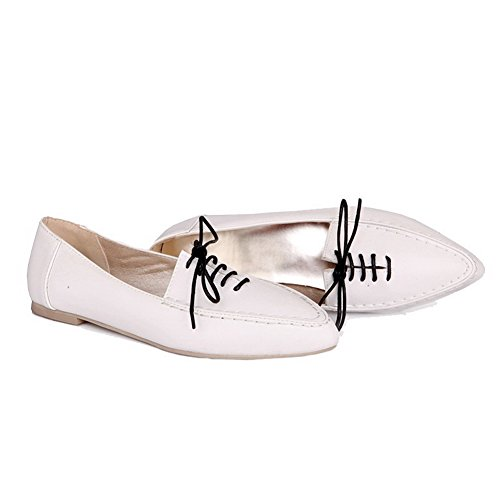 VogueZone009 Women's Solid Pu Low Heel Pointed-Toe Lace-up Pumps-Shoes White fbnL9UjsX