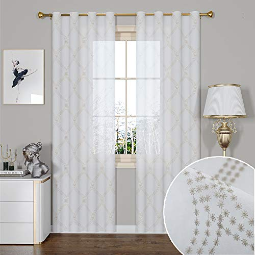 GRALI Country Style Diamond Pattern Sheer Curtains, Translucent Voile Drapes for Bedroom/Studyroom/Nursery (55