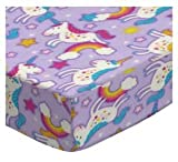 #7: SheetWorld Fitted Pack N Play Sheet 29.5 x 42 - Unicorns - Made in USA