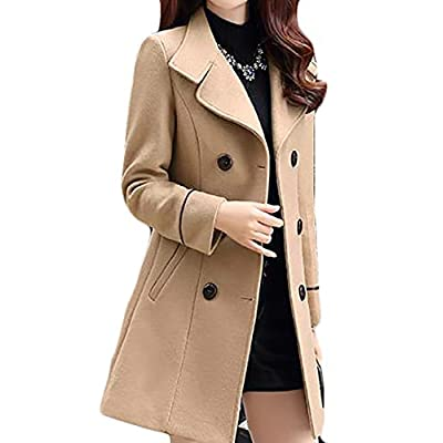 JWK Women's Double-Breasted Slim Solid Wool-Blend Winter Pea Coats: Clothing