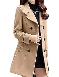 2d346082c9c JWK Women s Double-Breasted Slim Solid Wool-Blend Winter Pea Coats