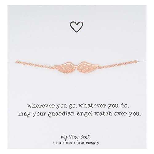 (My Very Best Dainty Angel Wing Bracelet (Rose Gold Plated)