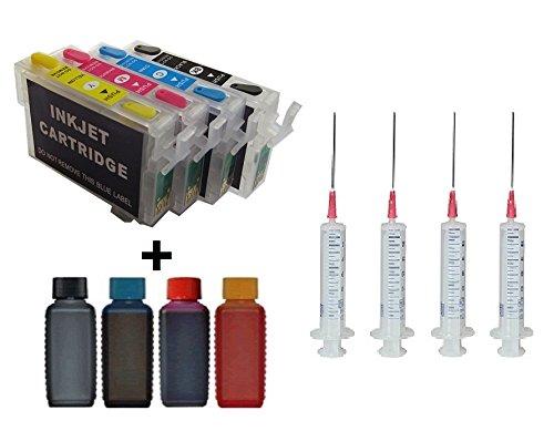 Wiederbefü llbare QUICKFILL / FILL-IN / Easy Refill / Auto Reset Patronen wie T2981, T2982, T2983, T2984 / T2991, T2992, T2993, T2994 / T29 XL black, cyan, magenta, yellow mit Auto Reset Chips + 4 x 100 ml Ink-Mate Premium Markentinte fü r Epson